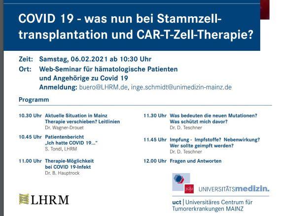 Covid 19  Programm Seminar Uniklinik Mainz